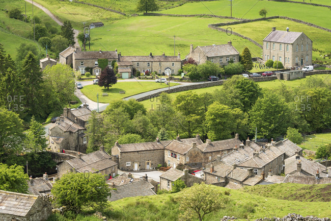 Langthwaite village rooftops, Arkengarthdale, near Reeth, The Yorkshire Dales National Park, Yorkshire, England, United Kingdom, Europe