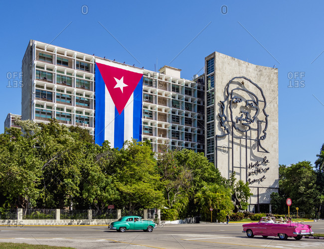 January 28, 2020: Che Guevara Memorial and Cuban flag at Plaza de la Revolution (Revolution Square), Havana, La Habana Province, Cuba, West Indies, Central America