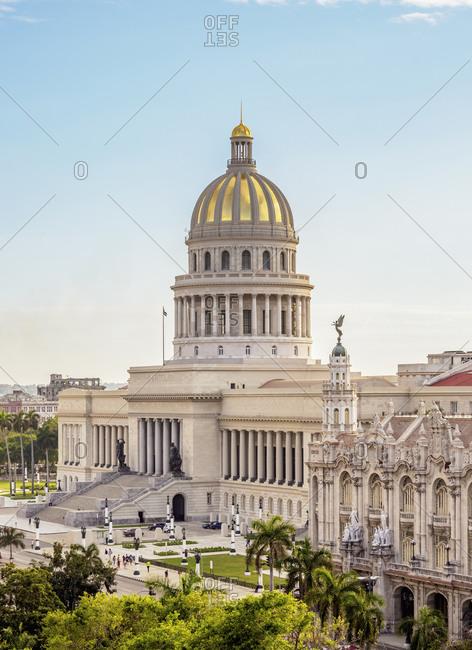El Capitolio and Gran Teatro Alicia Alonso, elevated view, Havana, La Habana Province, Cuba, West Indies, Central America