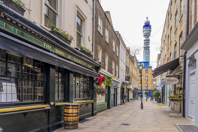 June 29, 2020: A view of the Post Office Tower in Marylebone, London, England, United Kingdom, Europe