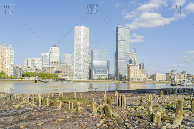 July 17, 2020: Canary Wharf and the River Thames, Docklands, London, England, United Kingdom, Europe