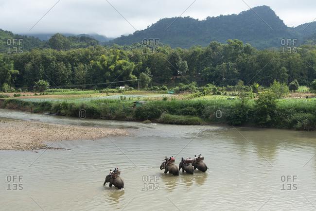 November 28, 2014: Riding Asian elephants near Luang Prabang, Laos, Indochina, Southeast Asia, Asia