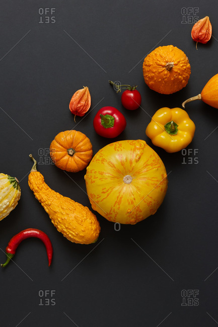 Vegan pattern from freshly picked natural organic vegetables pumpkins different shapes, red paprika and chili pepper, tomato on a black background, copy space. Vegan healthy food concept. Top view.