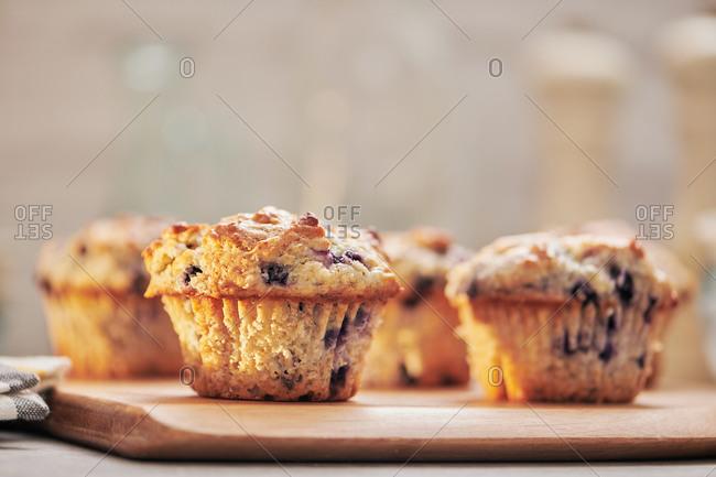 Homemade blueberry lemon muffins in the morning light