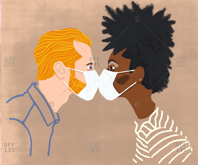 White man and black woman kissing through face mask
