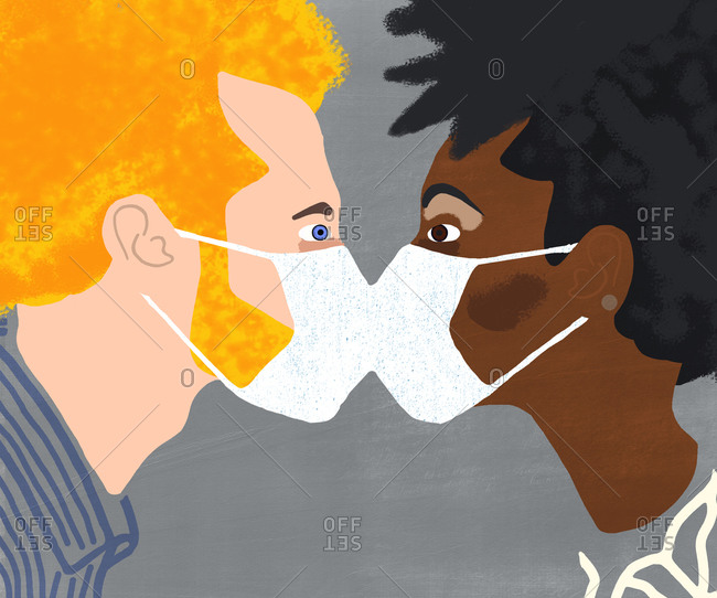 White man and black woman kissing with corona mouth mask