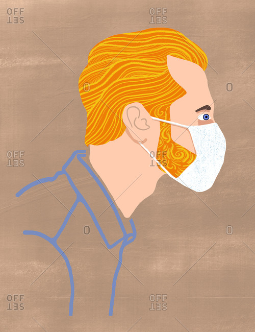 Side profile of a blond ginger man wearing face mask