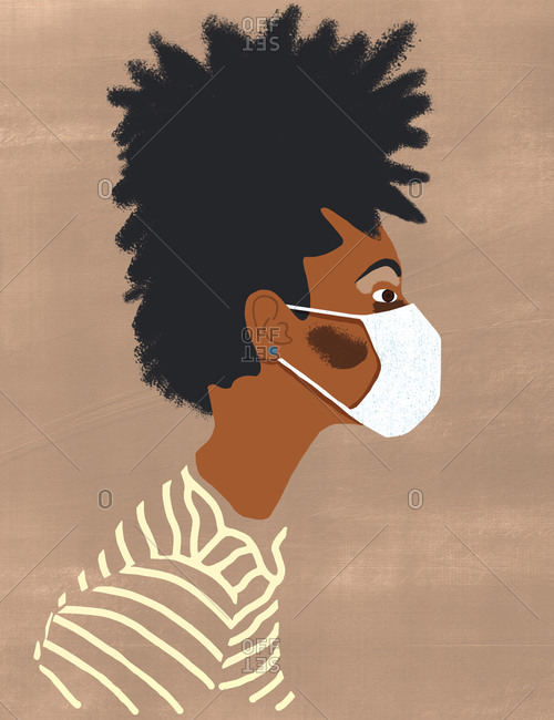 Side profile of a black woman wearing is face mask