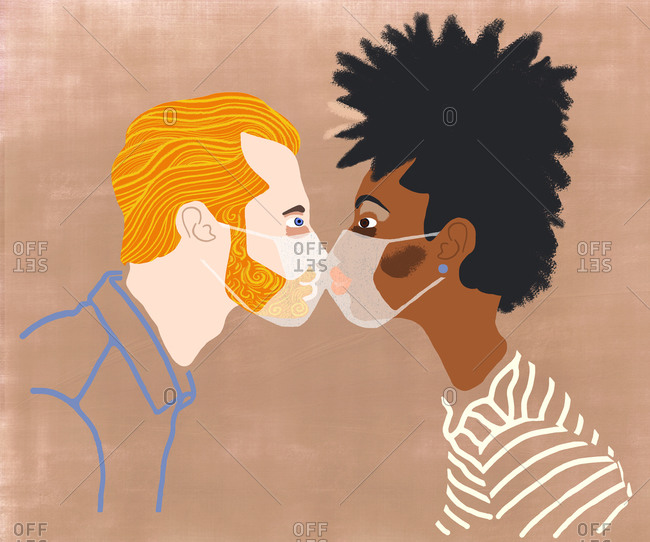 Close up profile of two people kissing though face masks