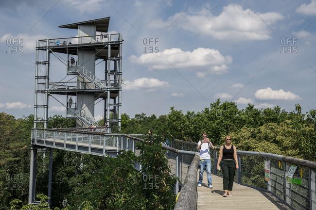July 19, 2020: Visitors to the Baumkronenpfad in Beelitz-Heilstatten, Brandenburg, Germany