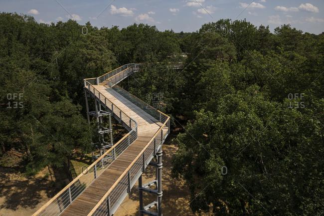 July 19, 2020: The Baumkronenpfad stretches into the forest in Beelitz-Heilstatten, Brandenburg, Germany