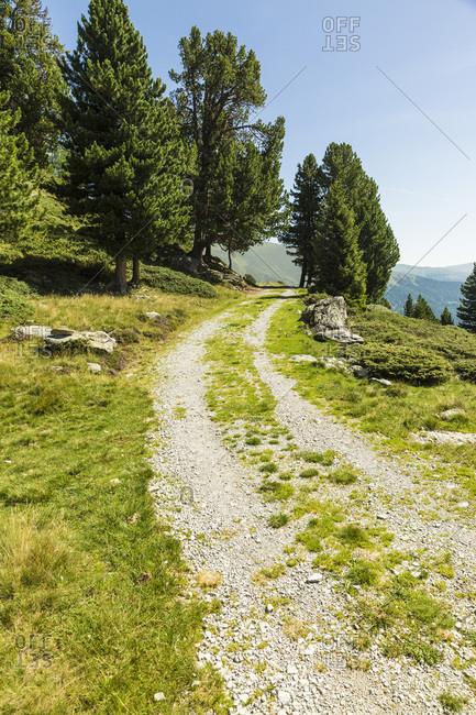 Gravel road in European Alps during summer