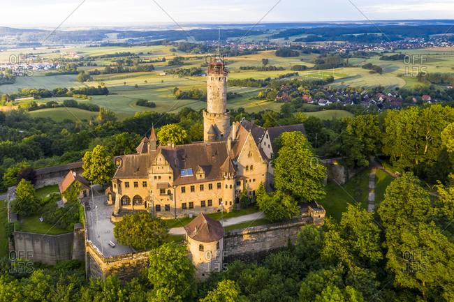 Germany- Bavaria- Bamberg- Helicopter view of Altenburg castle at summer dawn