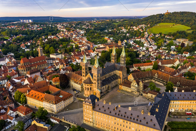 Bamberg Cathedral surrounded with residential building at Bamberg- Bavaria- Germany