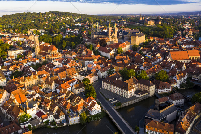 Regnitz river surrounded with residential building at Bamberg- Bavaria- Germany