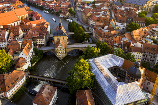 Regnitz river flowing between residential building of old town at Bamberg- Bavaria- Germany