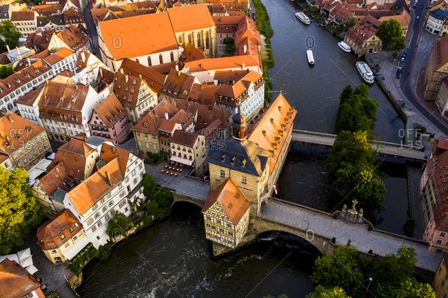 Regnitz river and town hall at Bamberg- Bavaria- Germany