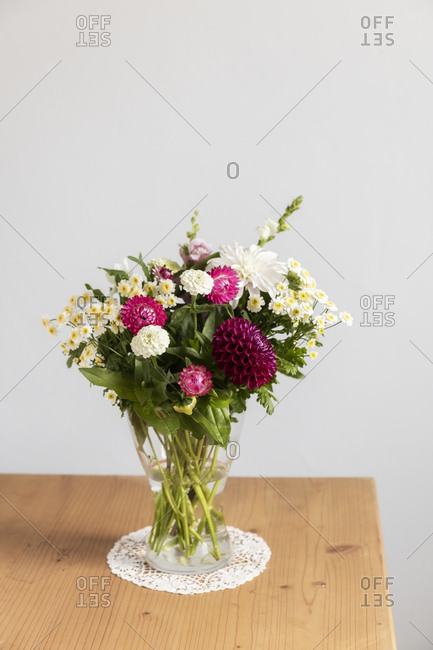 Vase with various summer flowers
