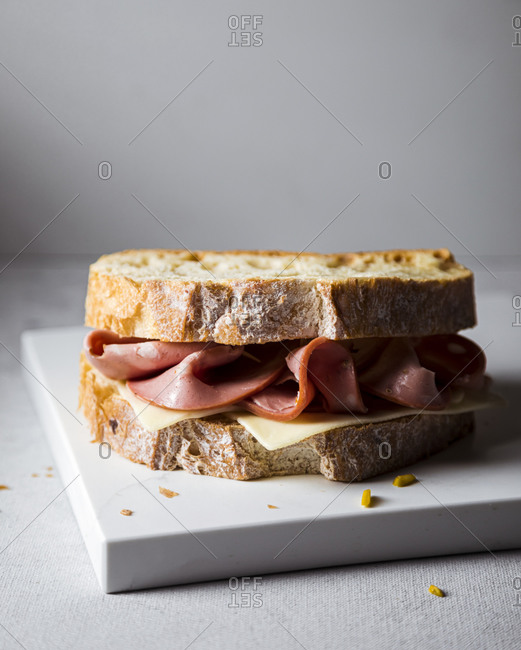 Ready-to-eat sandwich with mortadella and cheese