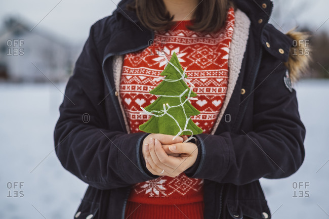 Close-up of young woman holding Christmas tree and lights while standing outdoors during winter