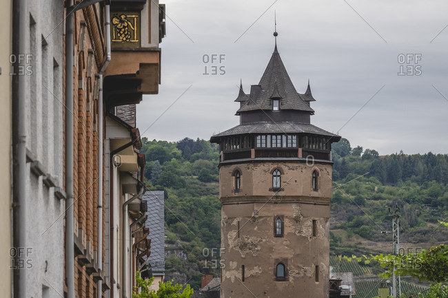 Germany- North Rhine-Westphalia- Oberwesel- Historical Haagsturm tower