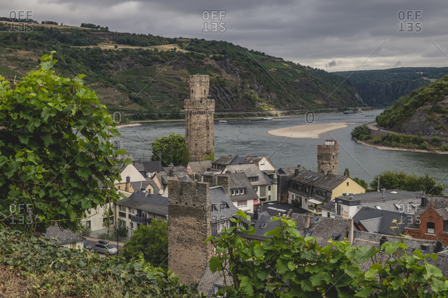 July 26, 2020: Germany- North Rhine-Westphalia- Oberwesel- Town in Rhine Gorge