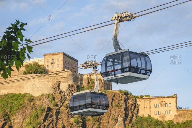 July 26, 2020: Germany- North Rhine-Westphalia- Koblenz- Overhead cable cars against Ehrenbreitstein Fortress