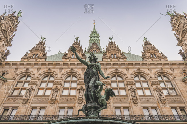 Germany- Hamburg- Hygieia statue in front of town hall facade