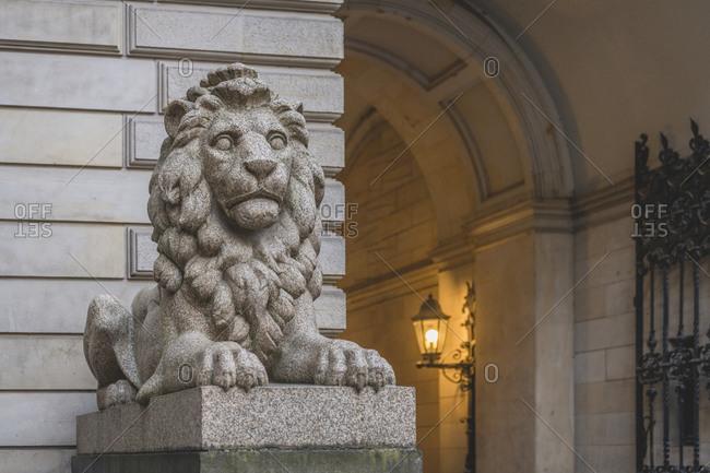 Germany- Hamburg- Lion statue at town hall entrance