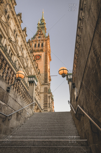 Germany- Hamburg- Steps and town hall tower