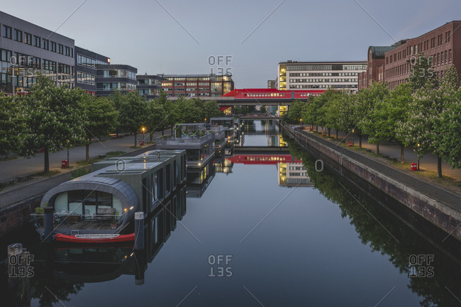 May 20, 2020: Germany- Hamburg- Hammerbrook- Canal with S-Bahn station in distance