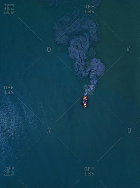 Aerial view of trawler fishing in Lukin bay
