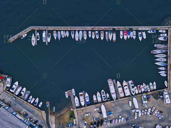 Russia- Primorsky Krai- Vladivostok- Aerial view of boats moored in harbor