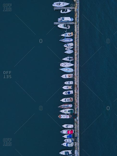 Russia-PrimorskyKrai- Vladivostok- Aerial view of boats moored in harbor
