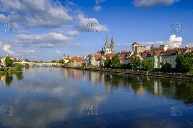 Germany- Bavaria- Adelsdorf- Regensburg- Danube river and riverside old town houses