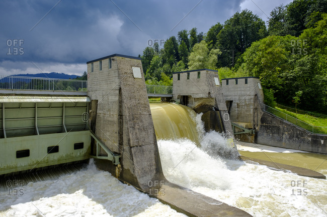 Germany- Bavaria- Canal lock of Isar Nuclear Power Plant