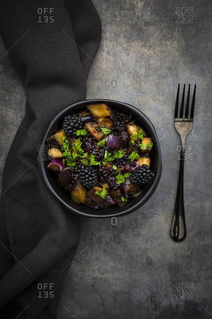 Studio shot of bowl of vegetarian salad with eggplant- Beluga lentils- Spanish onion- blackberries- vinaigrette and parsley