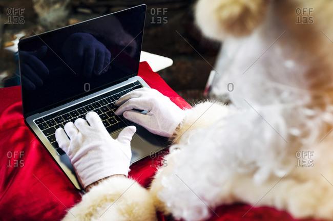 Man wearing Santa Claus costume using laptop while sitting at home