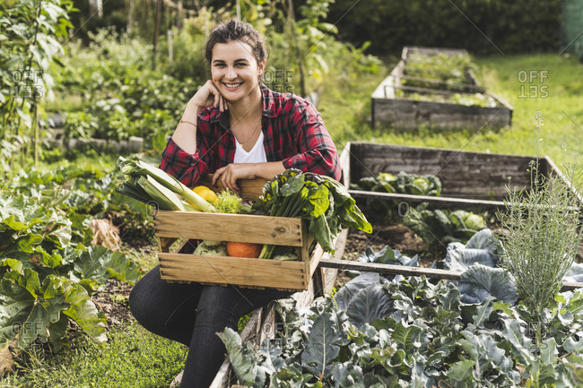 Smiling young woman sitting with vegetables in crate on raised bed at community garden