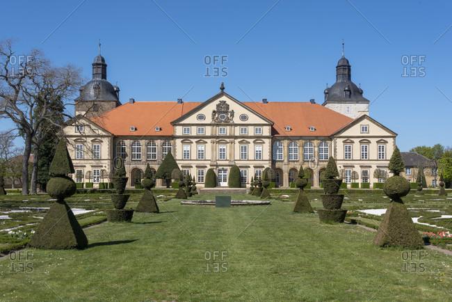 April 21, 2020: Germany, Saxony-Anhalt, hundisburg, view of the baroque garden of hundisburg castle.