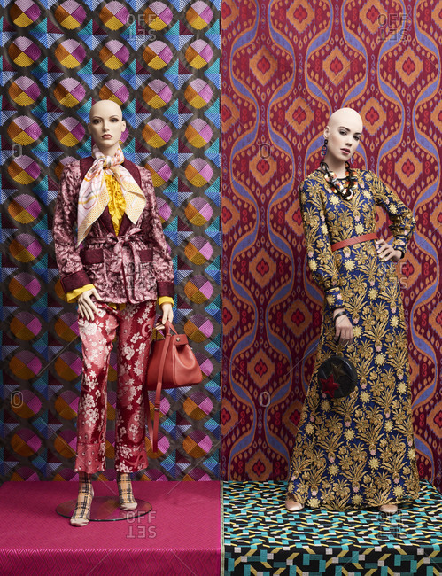 Woman / model and bald mannequins, decoration with fabrics