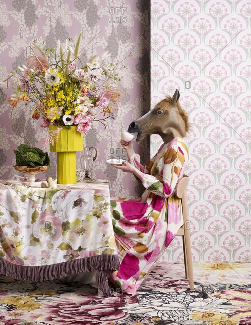 Flowers fabrics and wallpaper, decoration