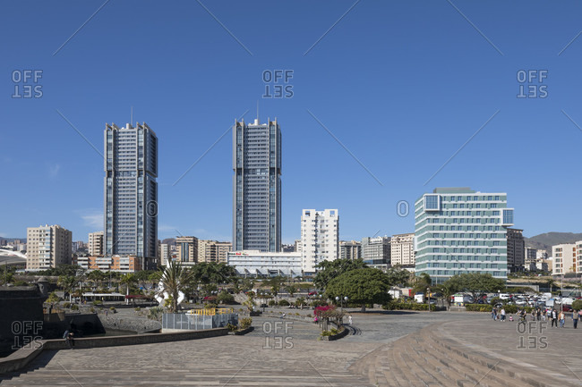 January 19, 2020: view from the auditorium to the Torres de Santa Cruz, two similar high-rise buildings (120 m) by the architect Julián Valladares Hernández, Santa Cruz de tenerife, tenerife, canary islands, Spain
