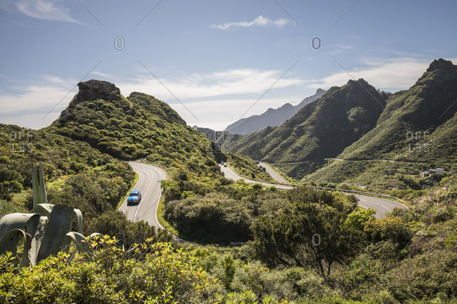 Mountain road in the anaga mountains, tenerife, canary islands, Spain