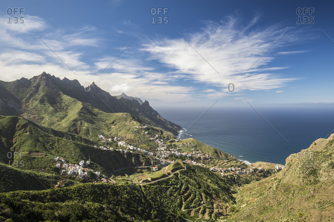 Anaga mountains with a view of taganana and the atlantic ocean, tenerife, canary islands, Spain