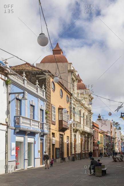January 20, 2020: pedestrian area Calle obispo rey redondo, san Cristóbal de la laguna, tenerife, canary islands, Spain