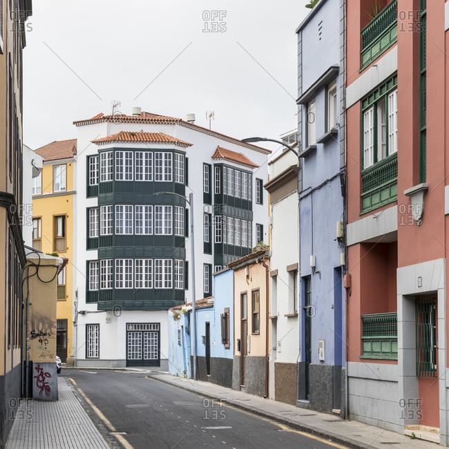 January 20, 2020: houses in Calle adelantado, san Cristóbal de la laguna, tenerife, canary islands, Spain