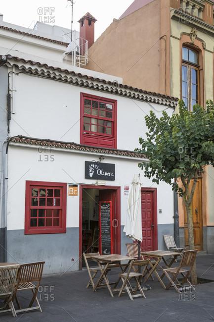 January 20, 2020: restaurants at the plaza de doctor Olivera, san Cristóbal de la laguna, tenerife, canary islands, Spain