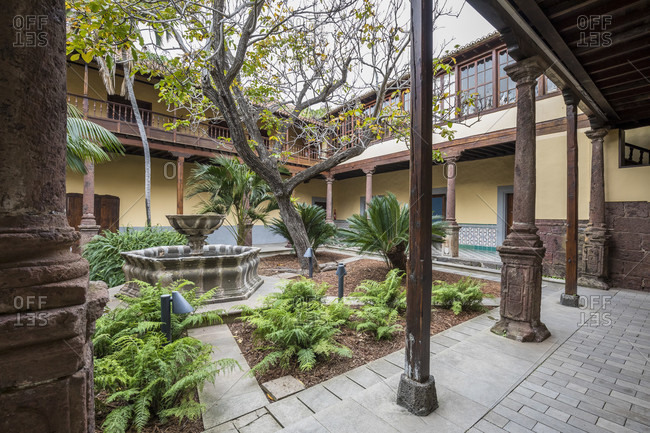 January 20, 2020: courtyard of the casa de los capitanos generales, the building houses the tourist information and a museum, san Cristóbal de la laguna, tenerife, canary islands, Spain