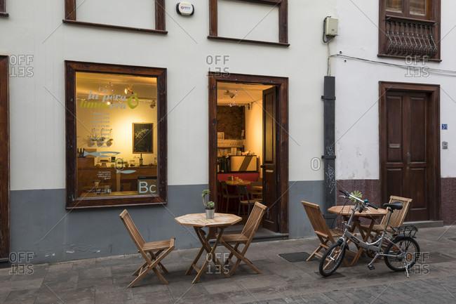 January 20, 2020: small bar and cafeteria on Calle san Agustina, san Cristóbal de la laguna, tenerife, canary islands, Spain